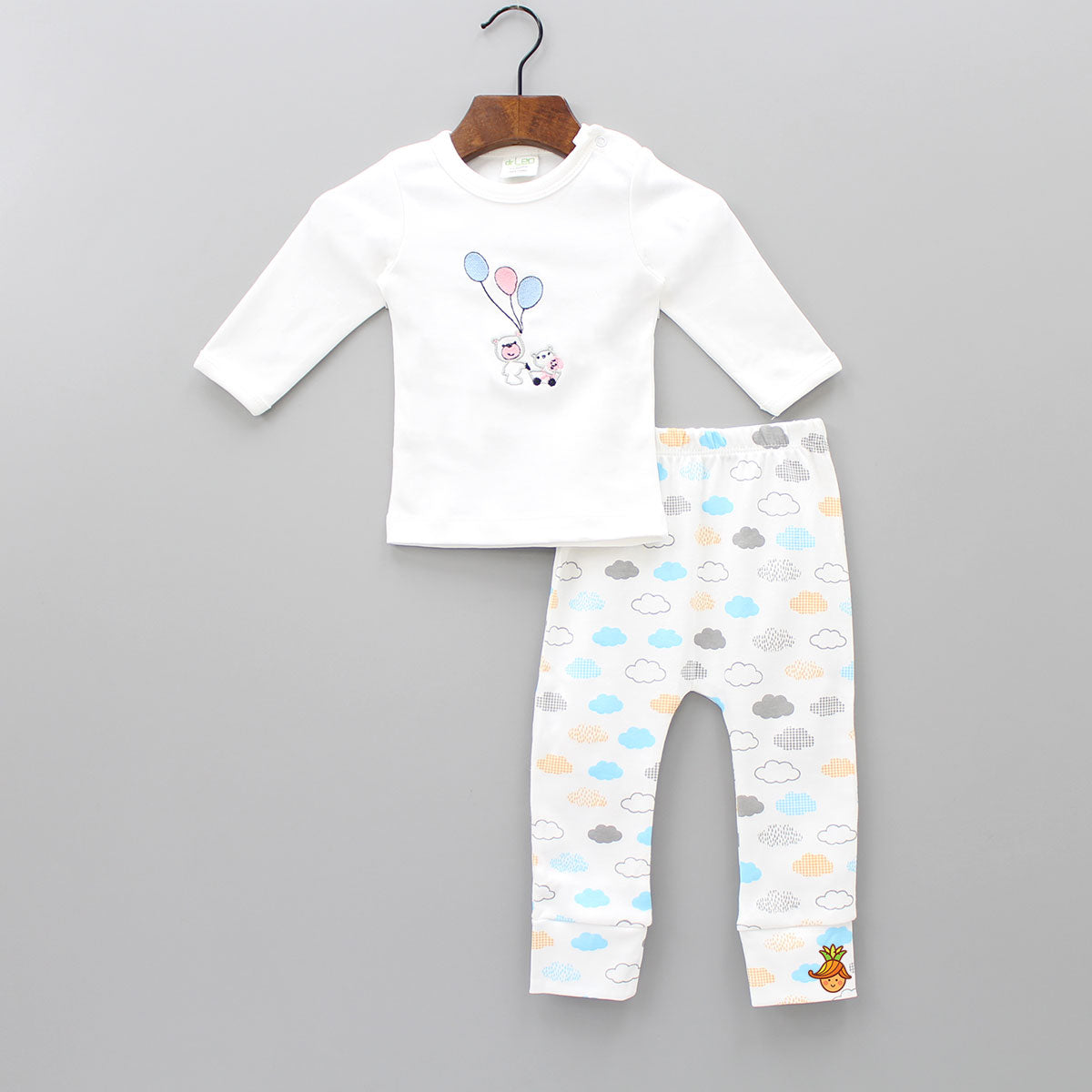 Tedd and Balloon Embroiderd Top With Cloud Print Pant Set