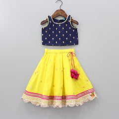 Embrioded Top And Printed Ghagra With Dupatta