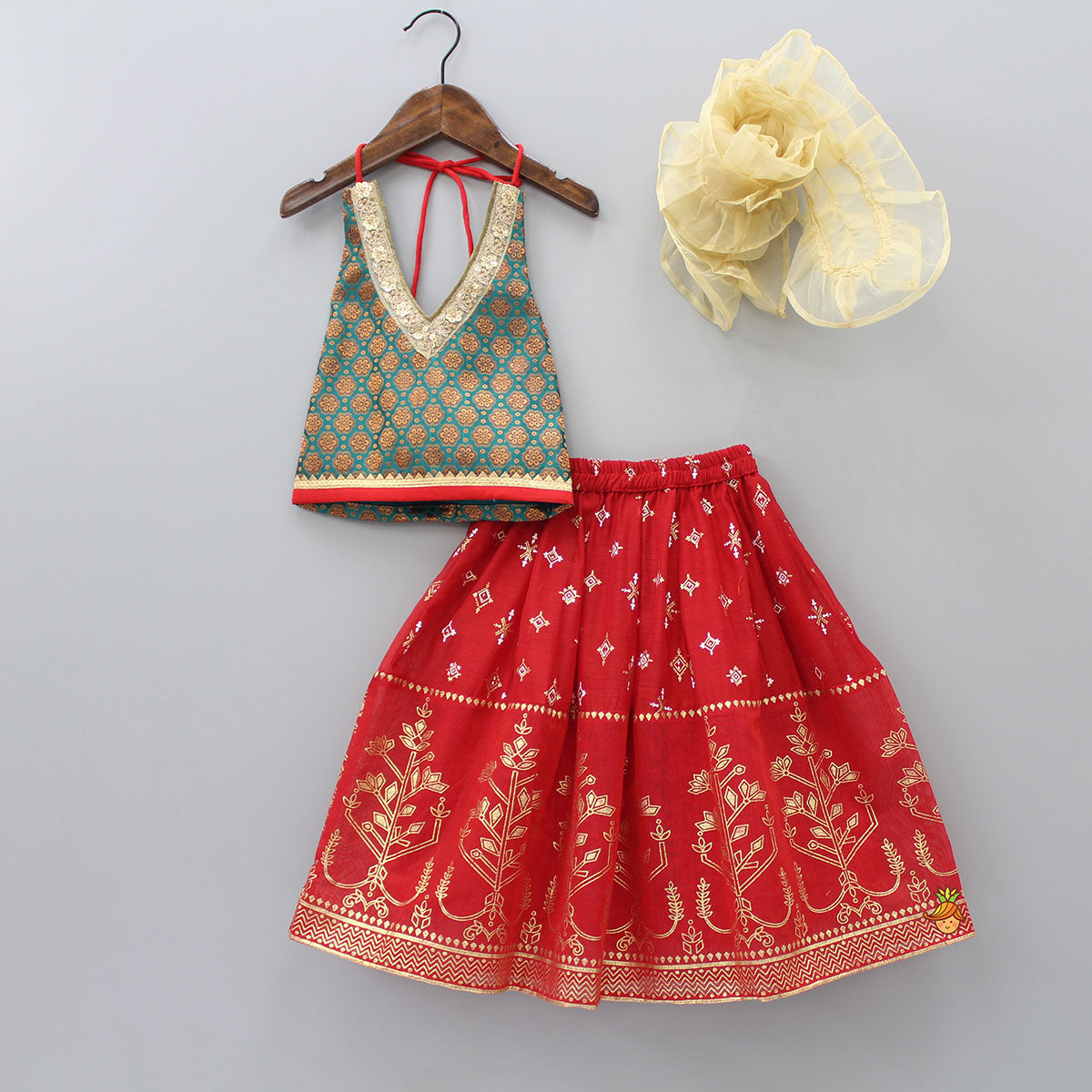 Flora Design Halter Neck Top And Lehenga With Frilly Dupatta