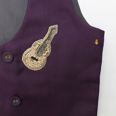 Pre Order: Pintuck Detailed Shirt And Pant With Guitar Patch Waist Coat