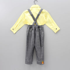 Pre Order: Yellow Shirt With Bow And Suspender Pants