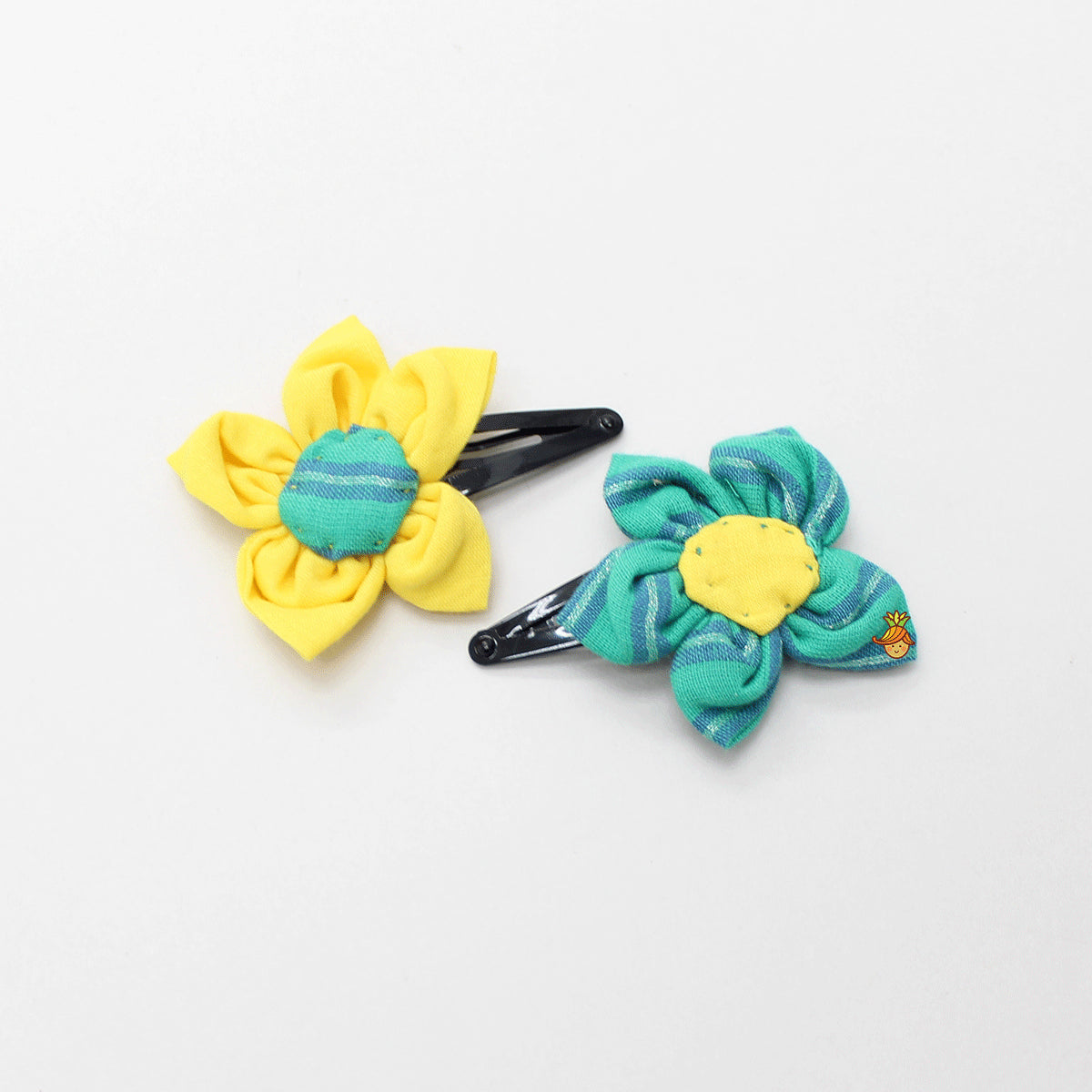 Green And Yellow Cotton Floral Hair Clips - Set Of 2