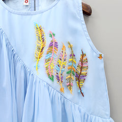 Leaf Embroidered Frilled Top And Palazzo