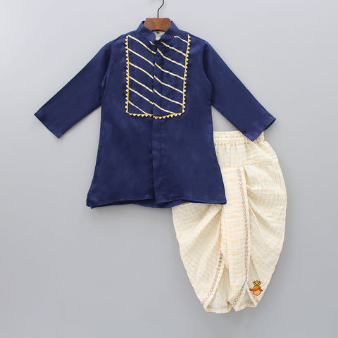 Lace Work Kurta And Checks Pattern Dhoti