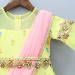 Pre Order: Sequin Work Yellow Anarkali With Attached Dupatta