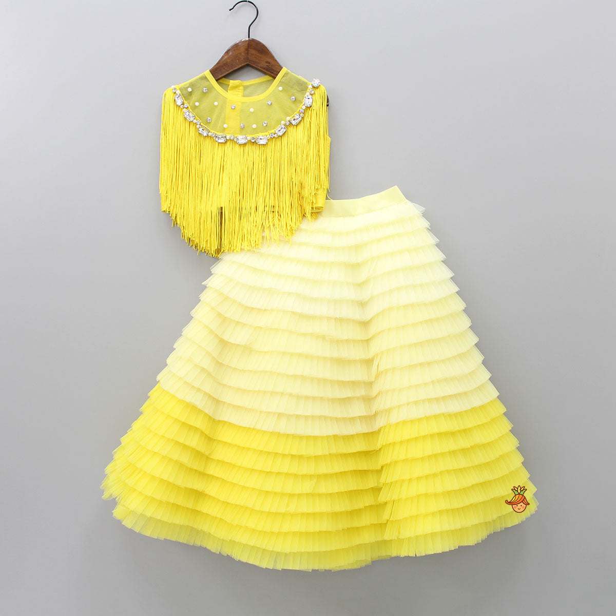 Pre Order: Yellow Fringe Top With Frilled Lehenga