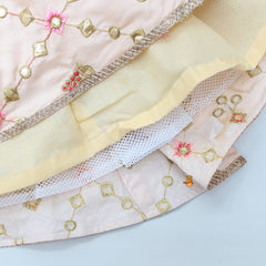 Peach Embroidered Top And Ghagra With Pink Dupatta