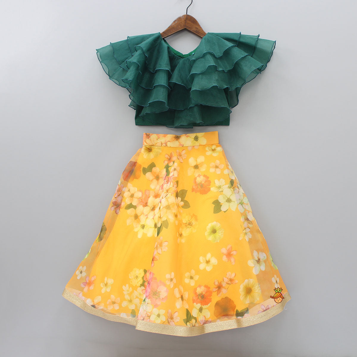 Pre Order: Frilly Green Top And Floral Printed Lehenga