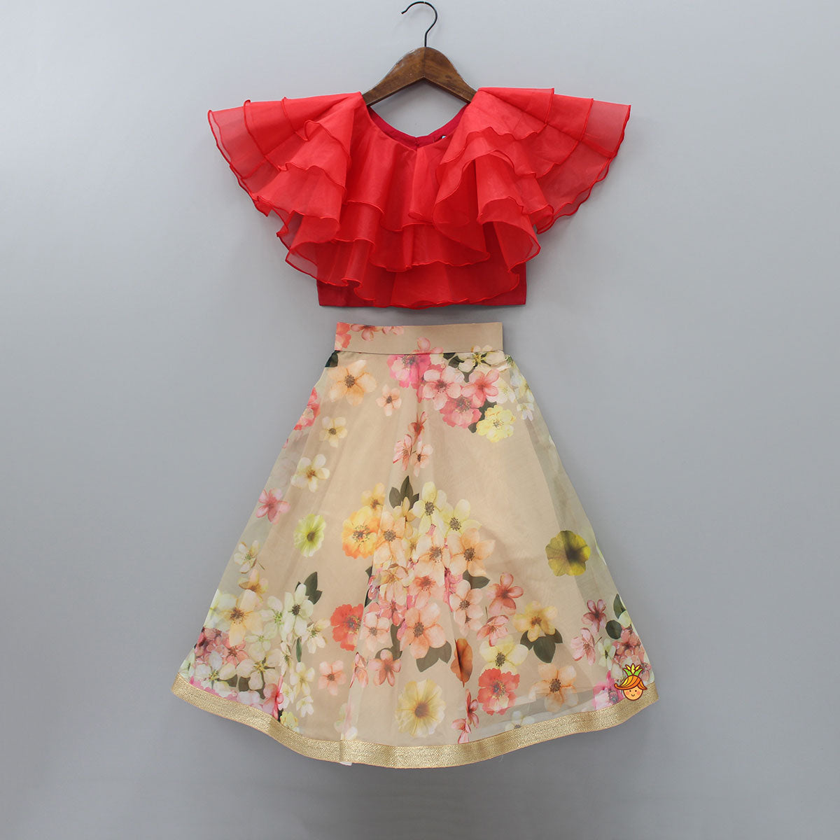 Pre Order: Frilly Red Top And Beige Floral Printed Lehenga