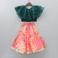 Pre Order: Frilly Top And Floral Printed Lehenga