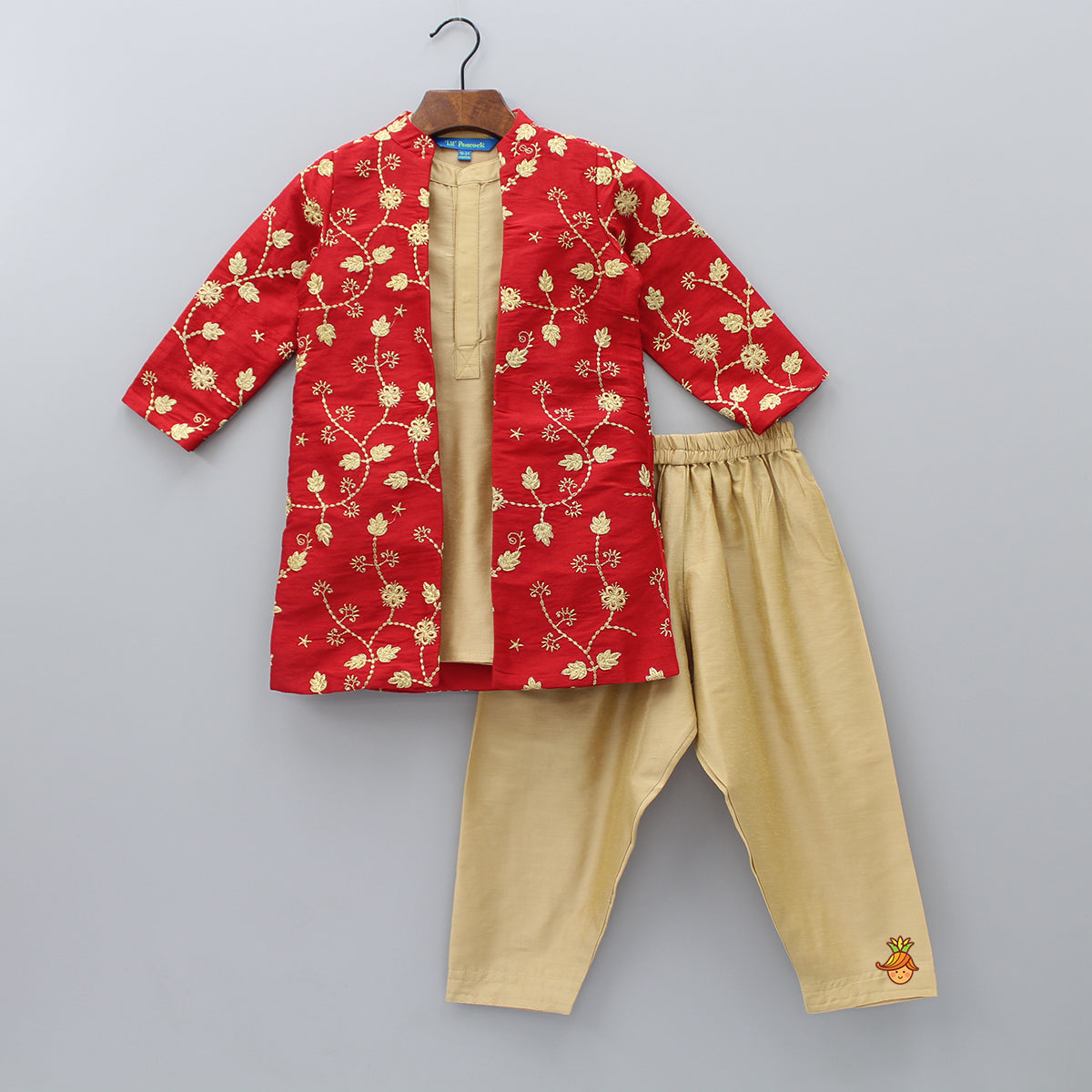 Kurta And Pyjama With Floral Embroidered Open Jacket