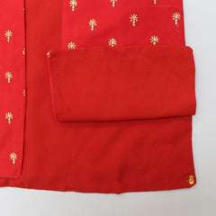 Kurta And Pyjama With Sequin Work Open Red Jacket