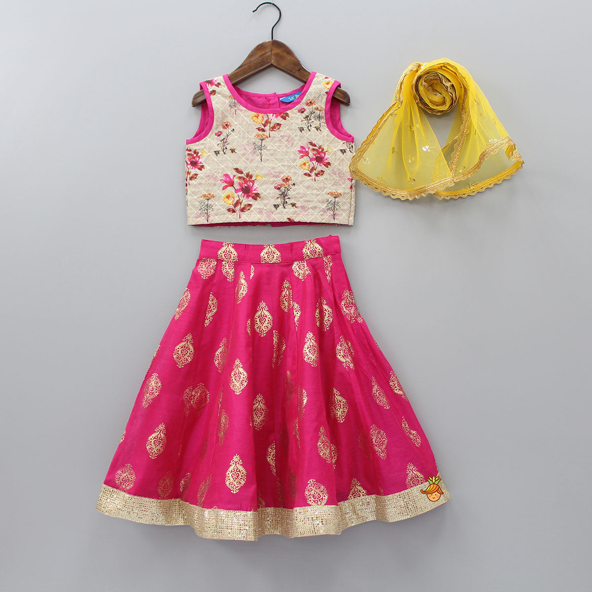 Floral Print Top And Printed Ghagra With Net Dupatta