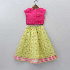 Sequin Work Top And Printed Ghagra With Dupatta