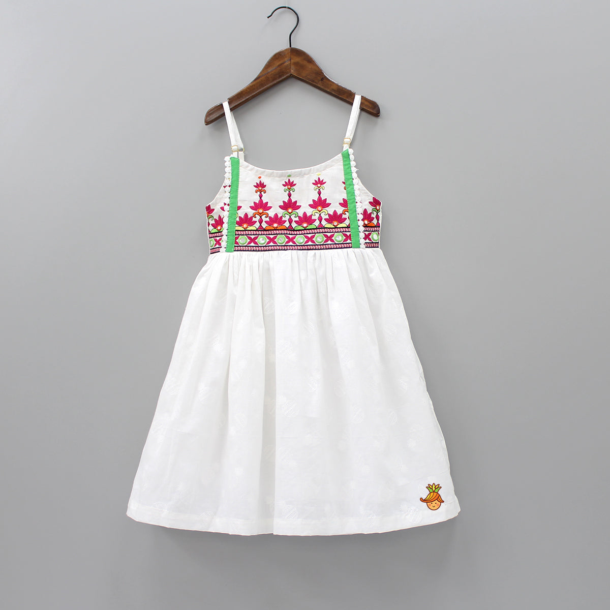 Pineapple Print Embroidered Dress