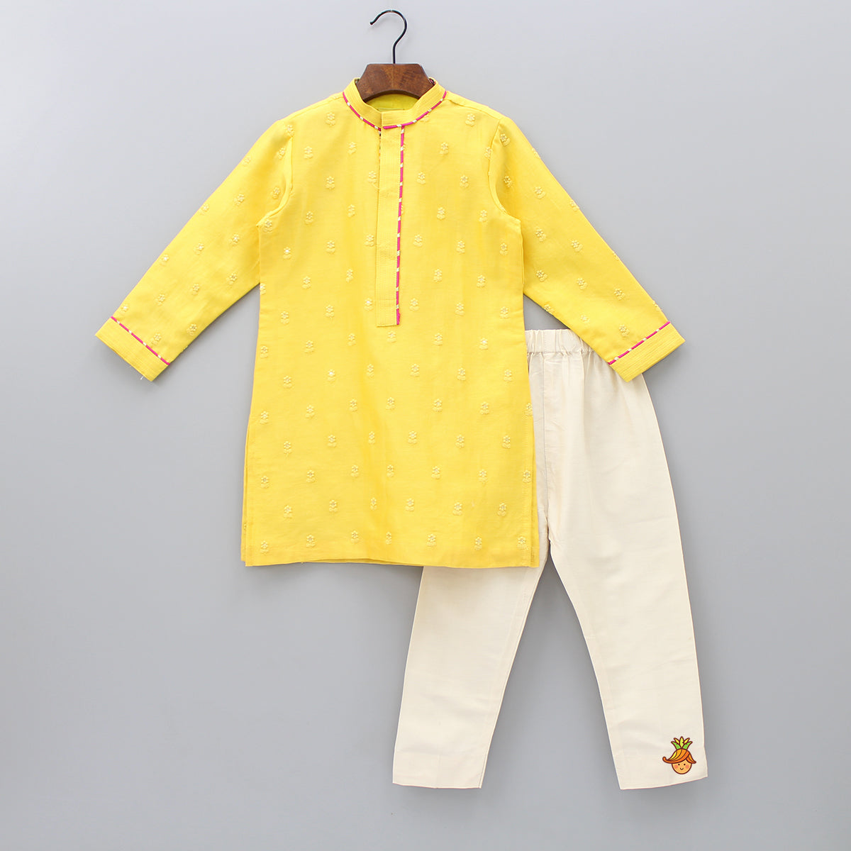 Pre Order: Floral And Sequin Embroidered Yellow Kurta With Churidar