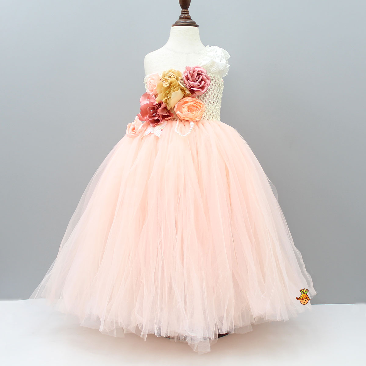 Pre Order: One Shoulder Peach Frilled Gown