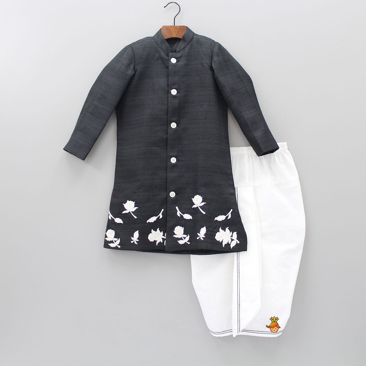 Pre Order: Rose Embroidered Sherwani And Dhoti