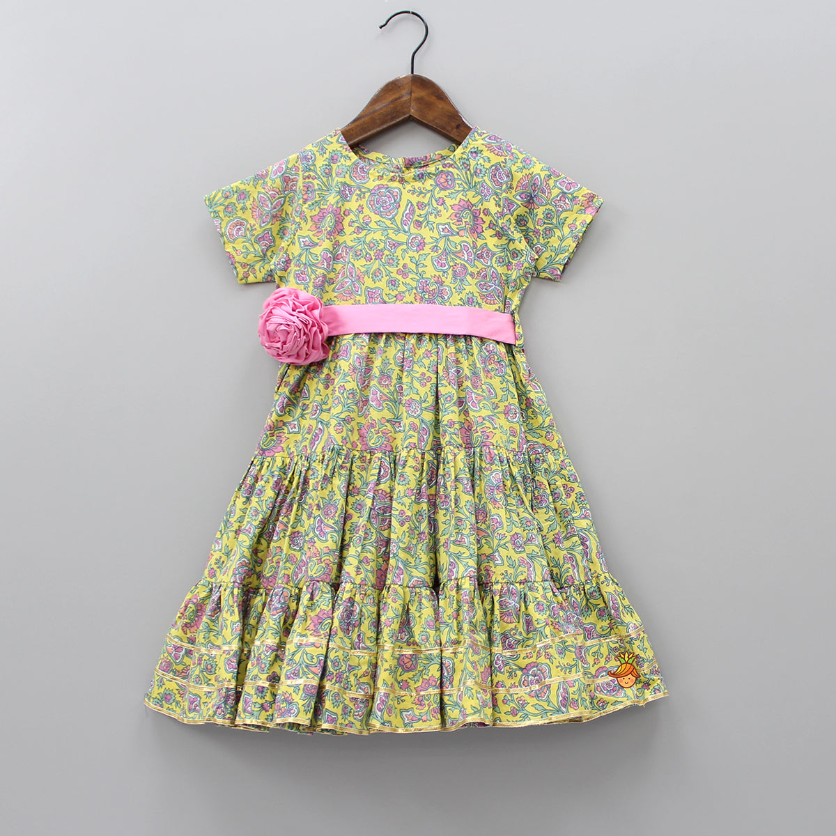 Pre Order: Floral Printed Dress With Attached Belt