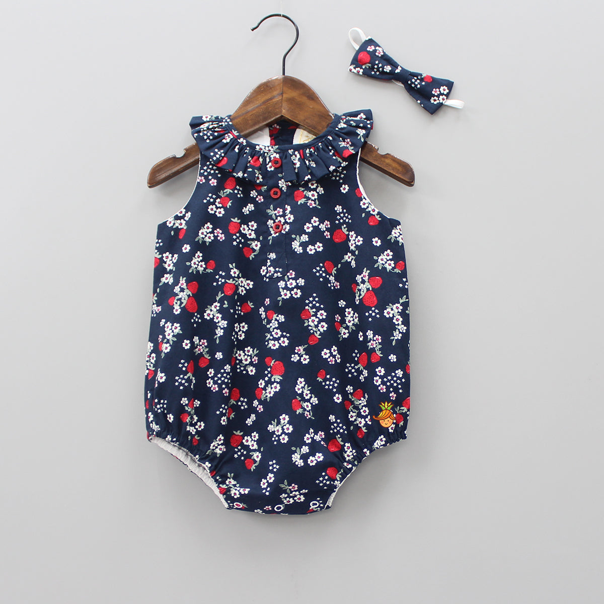 Strawberry And Floral Print Bodysuit With Bowy Headband