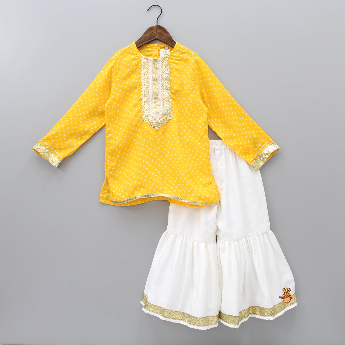 Pre Order: Yellow Bandhini Kurta With White Sharara