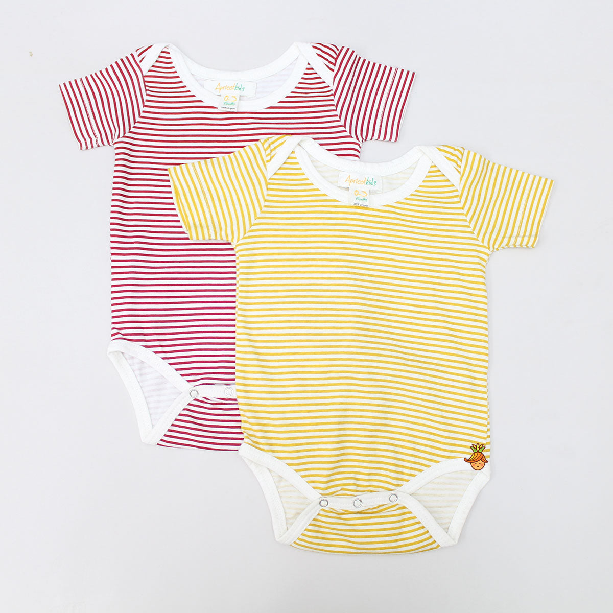 Organic Yellow And Red Stripped Bodysuit - Set of 2