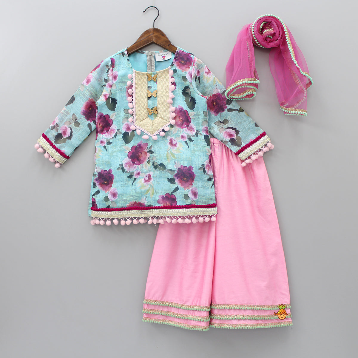 Pre Order: Pom Pom Work Floral Printed Kurta And Palazzo With Dupatta