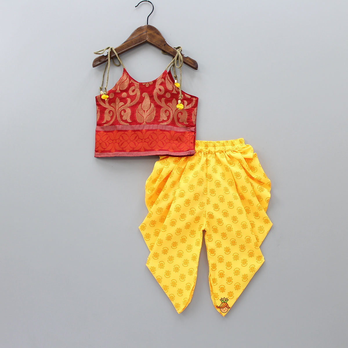 Brocade Top With Yellow Floral Printed Dhoti
