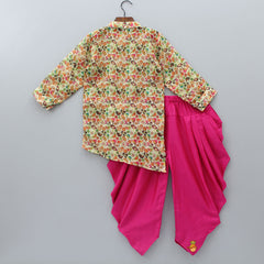 Pre Order: Bird And Floral Print Asymmetric Kurta With Patiala