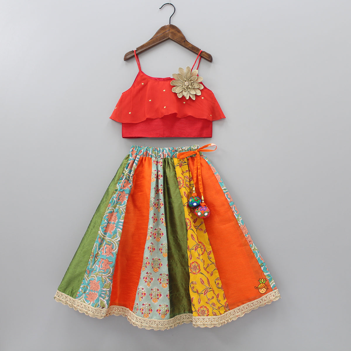 Pre Order: Frilly Top With Multicolor Lehenga