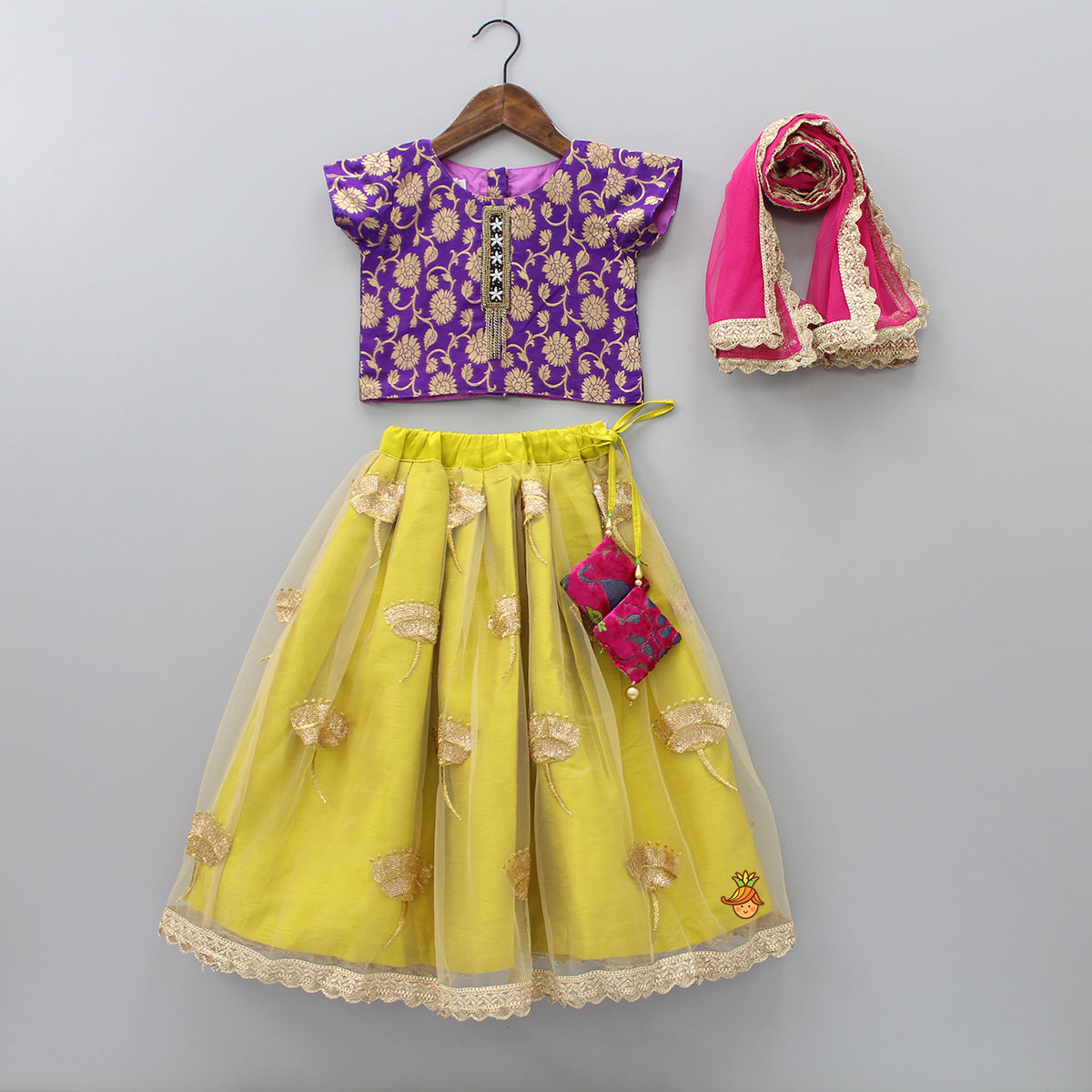 Pre Order: Floral Top And Sequin Work Lehenga With Dupatta