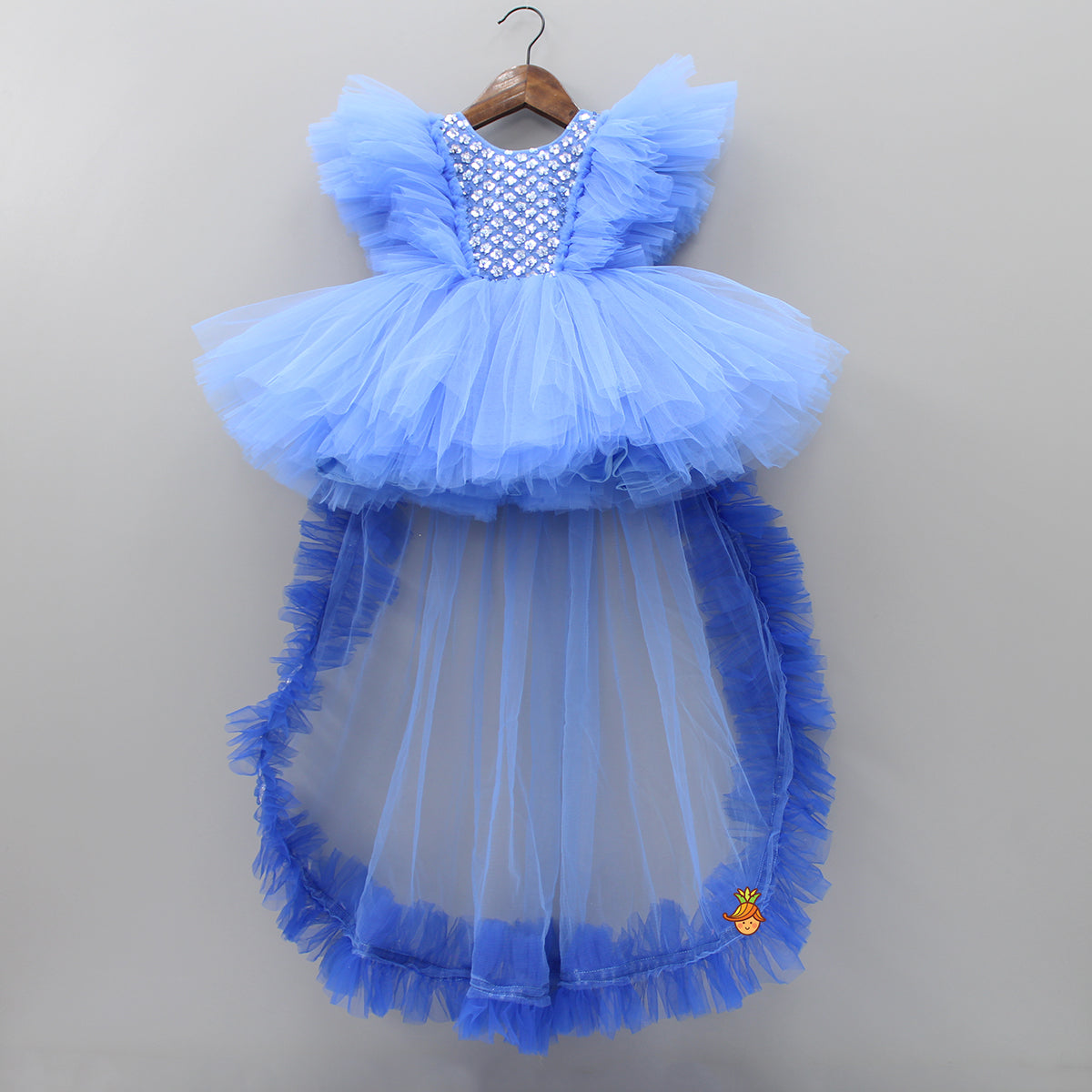 Pre Order: Blue Party Dress With Detachable Drape