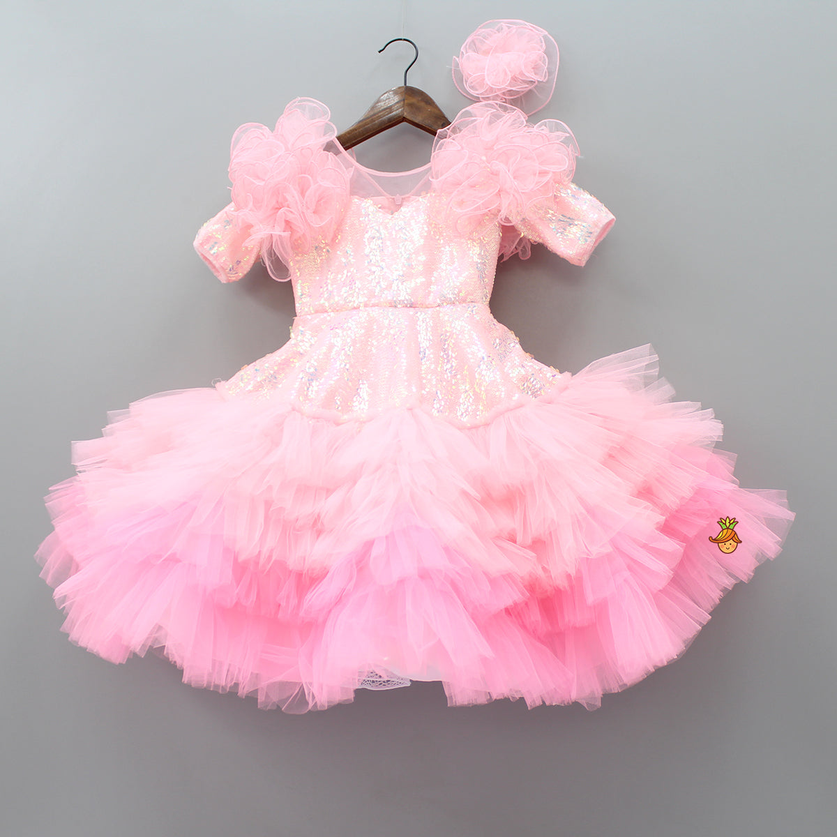 Pre Order: Sequin And Ruffle Frill Pink And Peach Gown With Hair Clip
