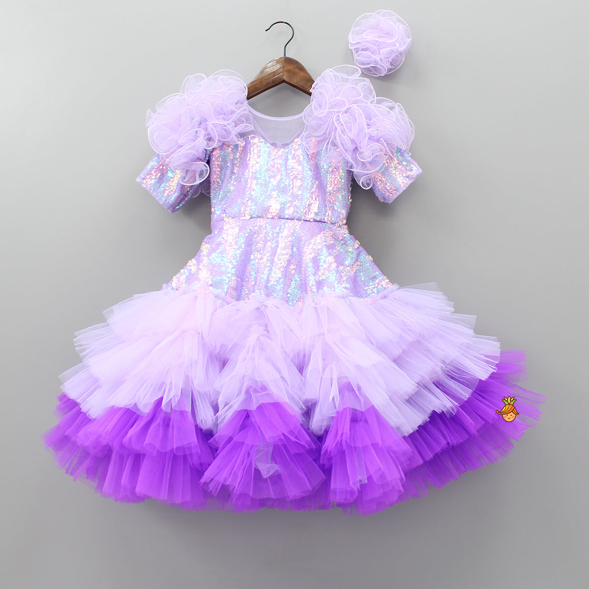 Pre Order: Sequin and Ruffle Frill Gown With Hair Clip
