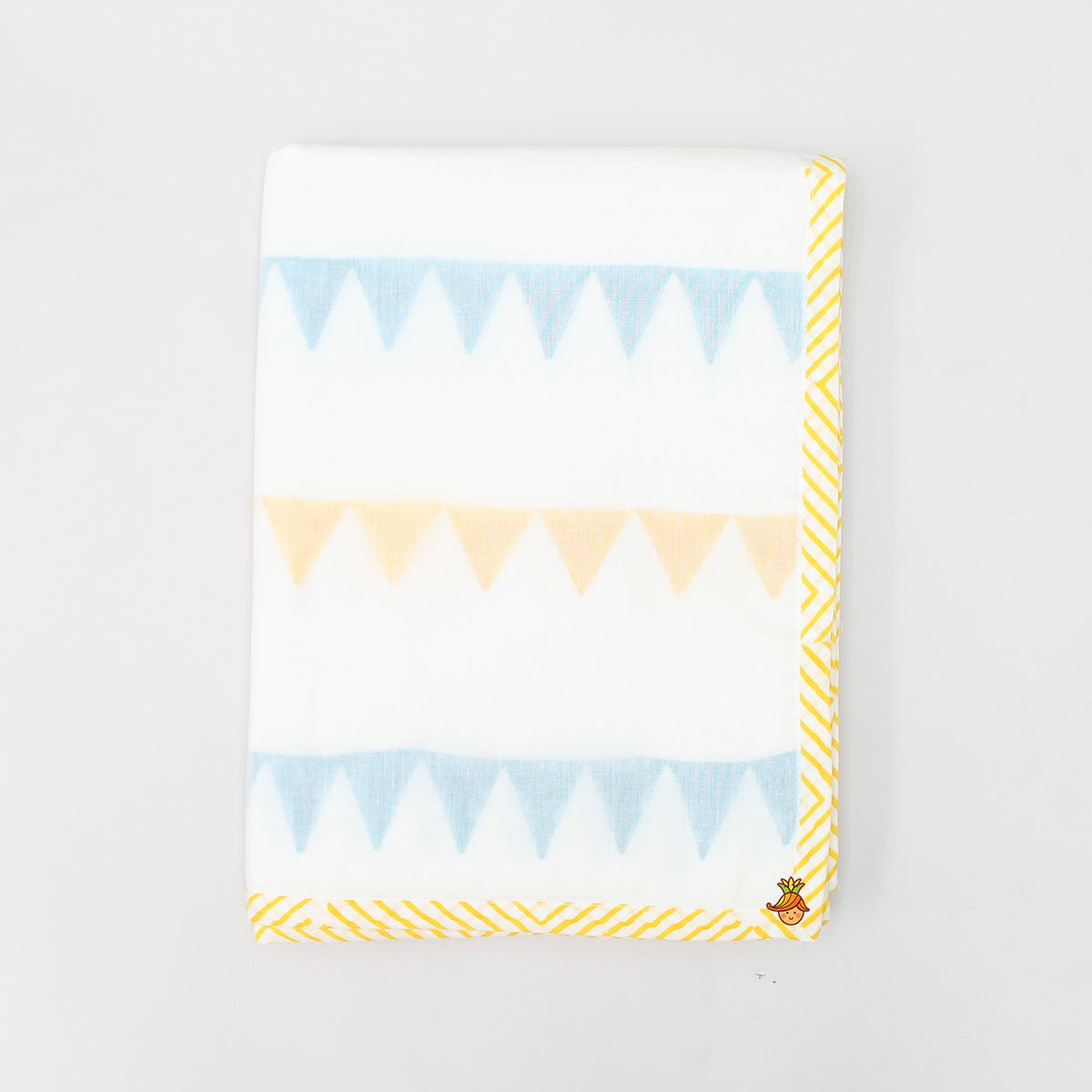 Blue and Yellow Triangle Printed Dohar Blanket