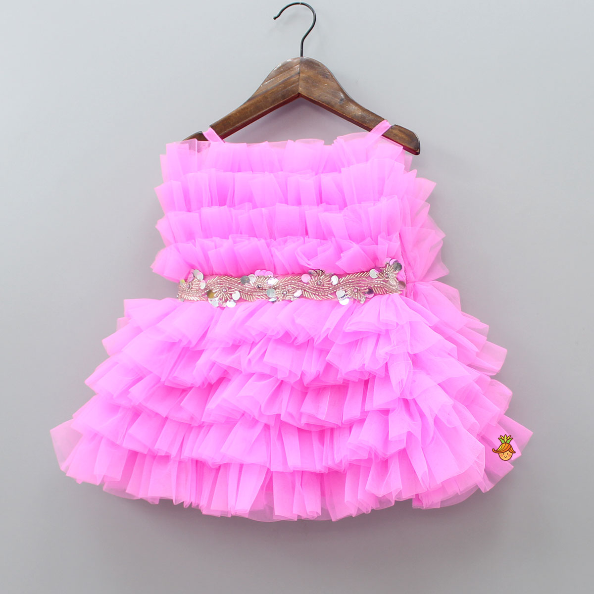 Pre Order: Ruffled Pink Dress With Attached Fancy Belt