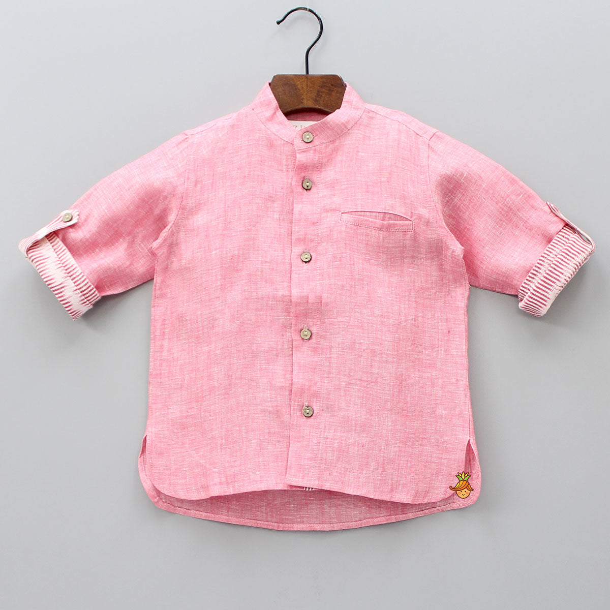 Pink Shirt With Ikat Turn - Ups