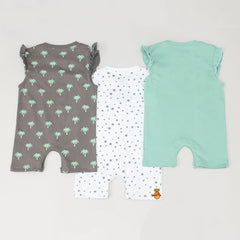 Organic Coconut Tree And Star Print Bodysuit - Set Of 3