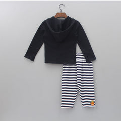 Organic Printed Hoodie And Stripped Pant Set