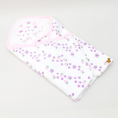 Flower And Butterfly Print Receiving Blanket With Hood
