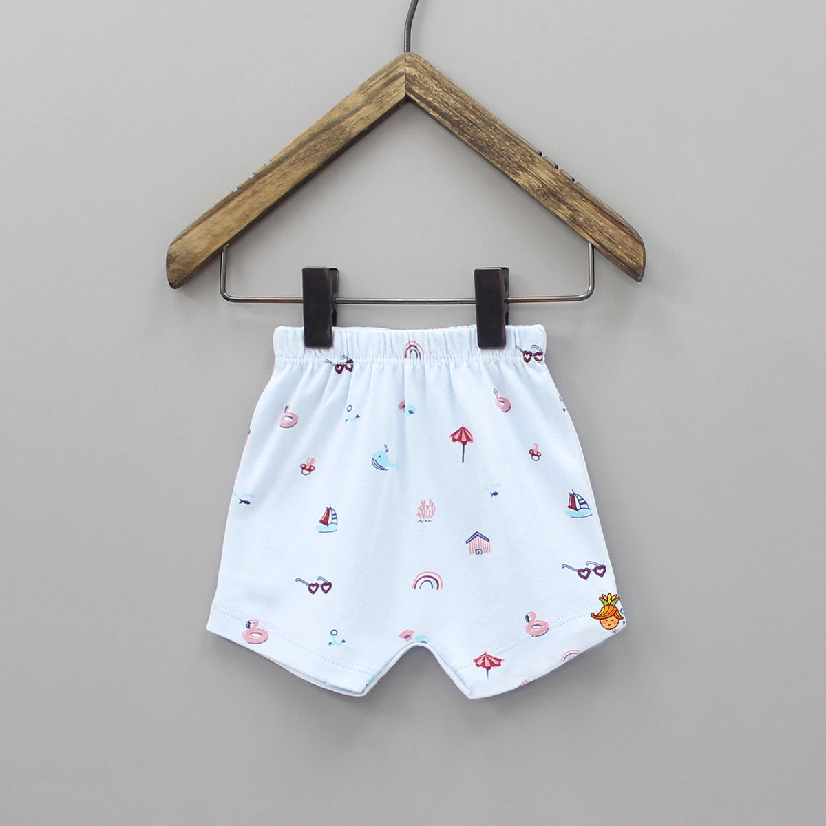 Beach Print Cotton Shorts