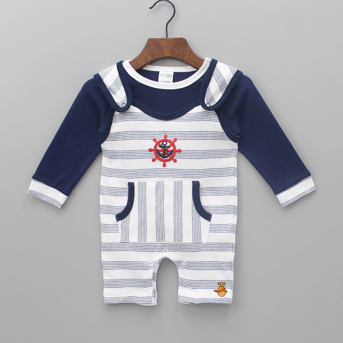 Navy Blue Tee And Stripped Bodysuit Set