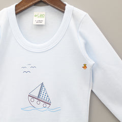 Sail Boat Printed Full Sleeves Cotton Bodysuit