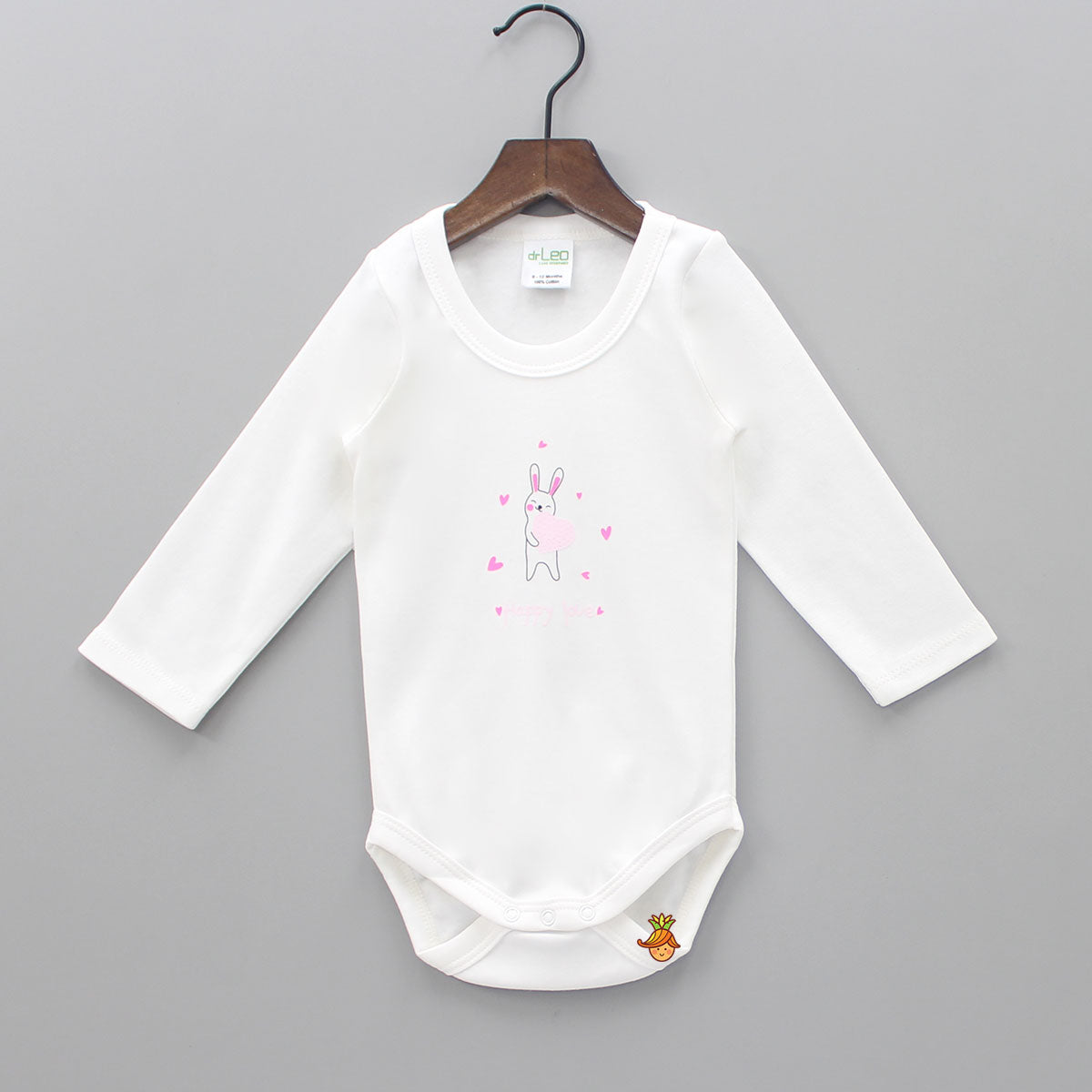 Hearty Bunny Printed Full Sleeves Cotton Bodysuit