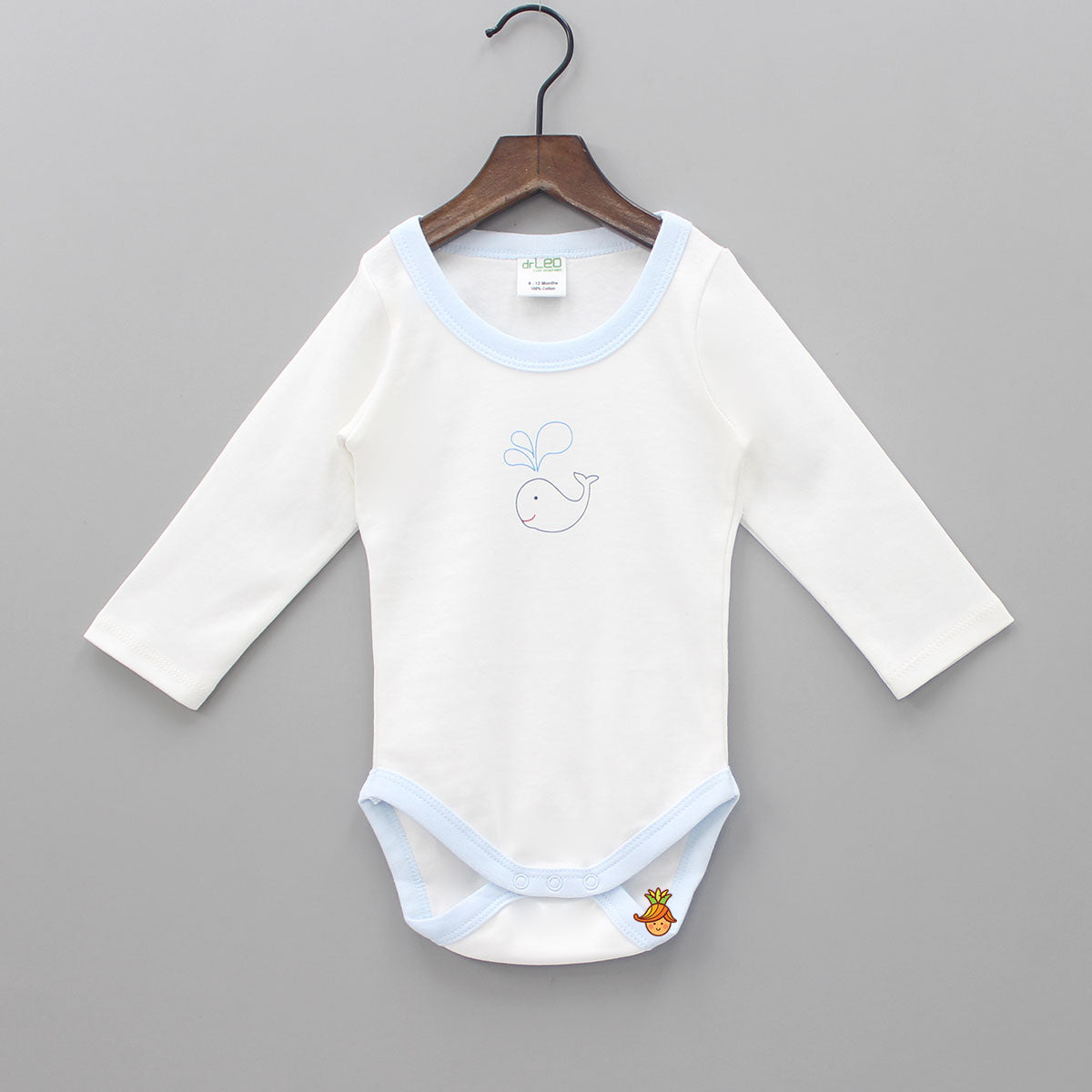 Whale Printed Full Sleeves Cotton Bodysuit