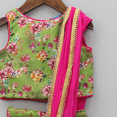 Floral Printed Top And Ghagra With Attached Dupatta