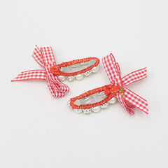 Pearl And Crystal Work Red Checks Bowy Clip - Set Of 2