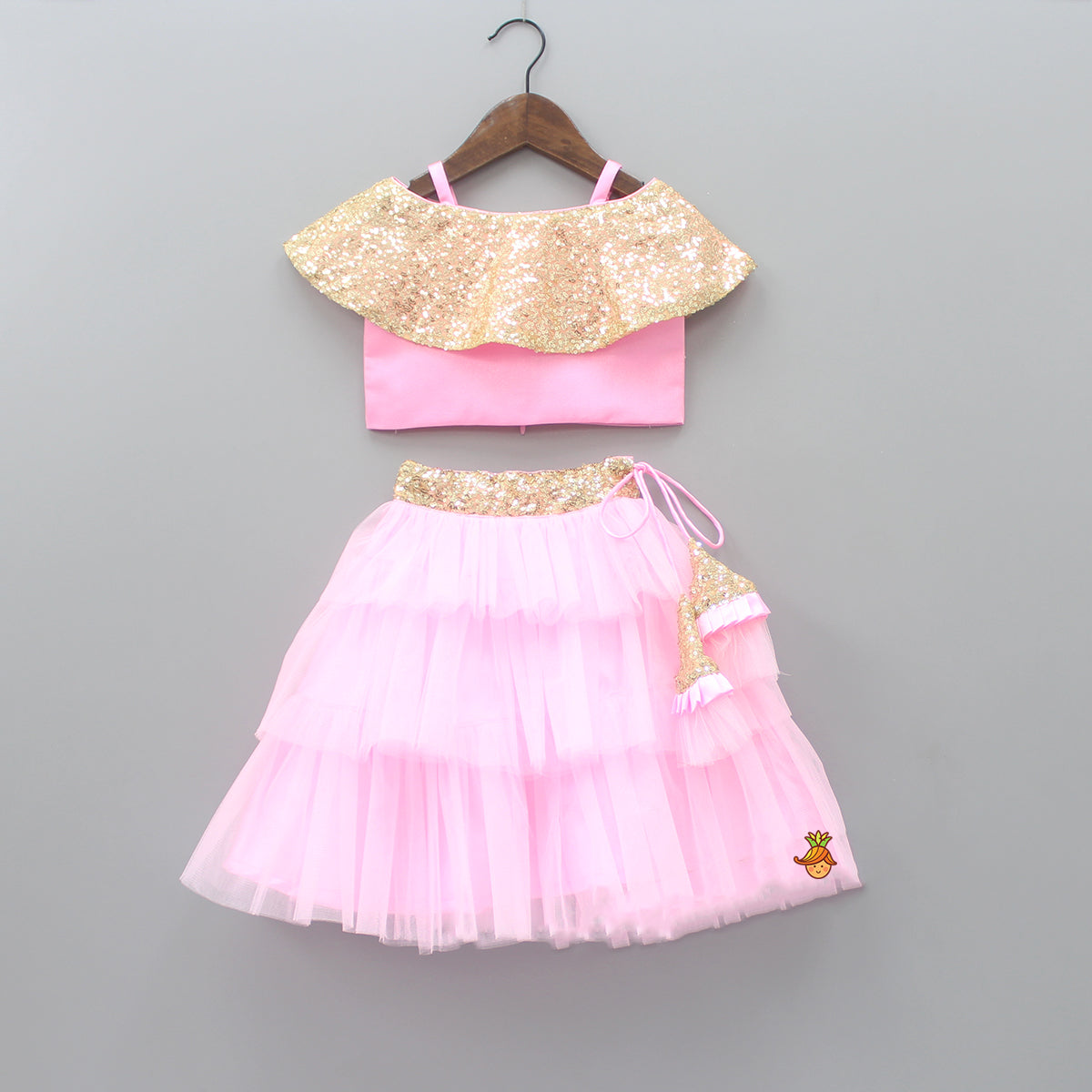 Pre Order: Pink Off Shoulder Top With Layered Lehenga