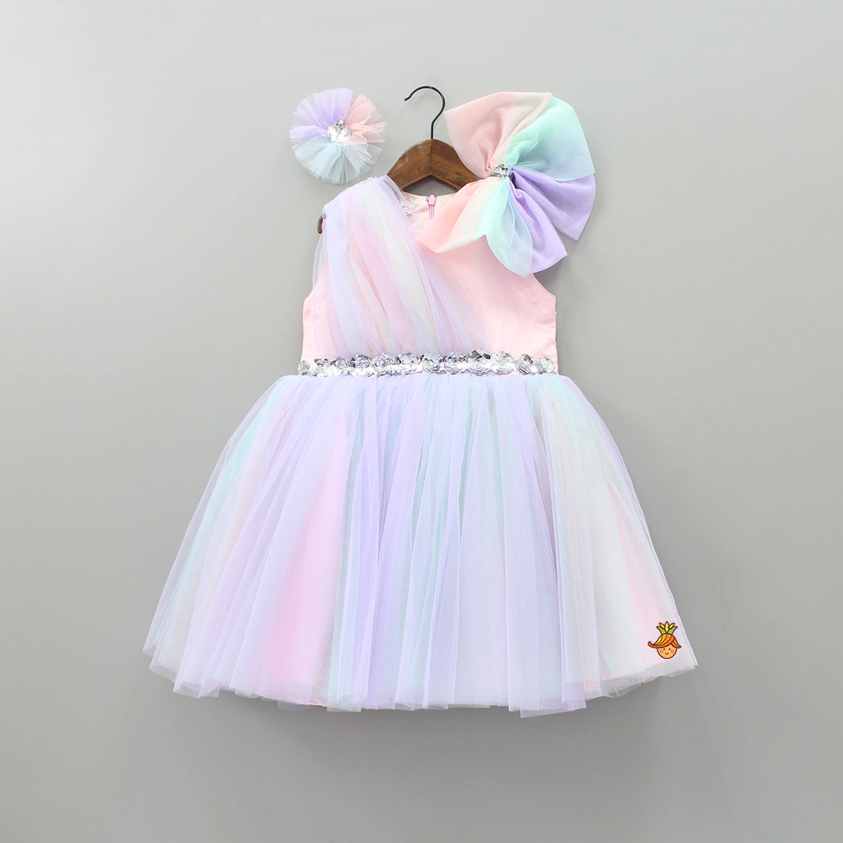 Pre Order: Bowy Shaded Party Dress With Hair Clip