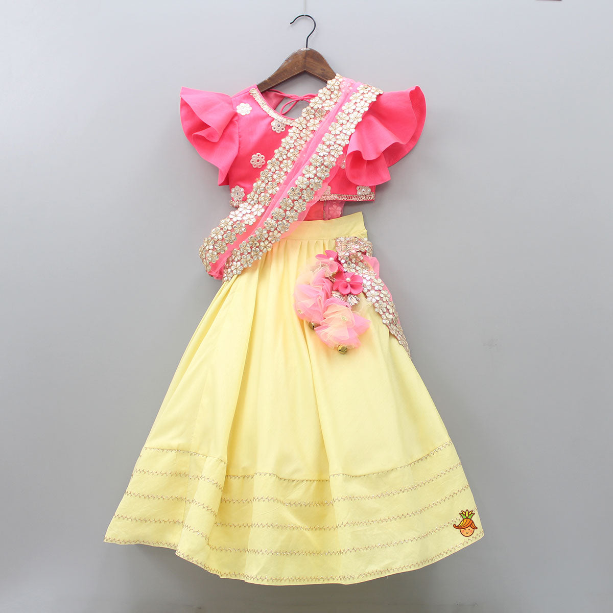 Pre Order: Abla Work Top And Lehenga With Attached Duptta